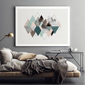 Пример оформления интерьера для арт принта Горы