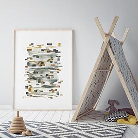 Пример оформления интерьера для арт принта Акварельная абстракция