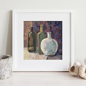 Пример оформления интерьера для арт принта Натюрморт с бутылками