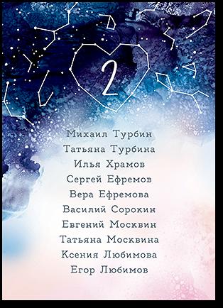 Созвездие любви - список для рассадки