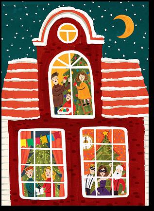 """Открытка """"Новогодние окна"""""""