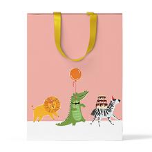 """Пакет подарочный """"Звери на персиковом фоне"""" А4"""