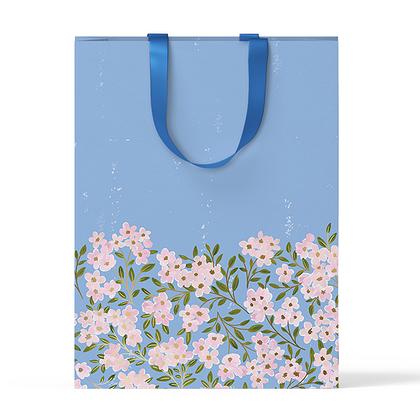 """Пакет подарочный """"Цветы на голубом фоне"""" А4"""